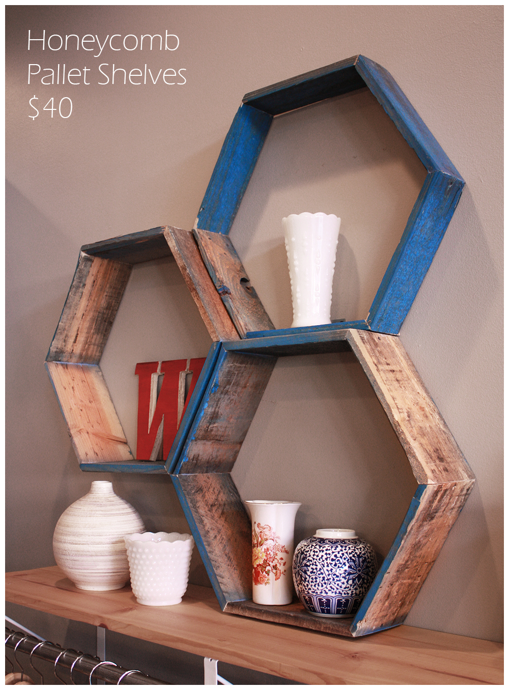 Honeycomb Pallet Shelves $40